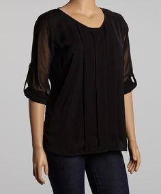 Take a look at this UMGEE U.S.A. Black Pleated Top - Plus on zulily today!
