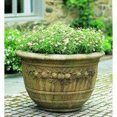 Round Pomegranate Cast Stone Planter Made By Campania International