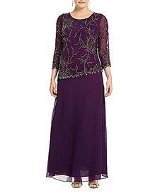 Jkara Plus Asymmetrical Beaded Scalloped Gown | Dillards.com