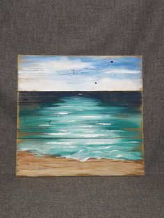 Items similar to Beach Art seascape, Pallet beach painting, shabby beach, Ocean, reclaimed wood pain Mixed Media Painting, Painting On Wood, Wood Paintings, Nautical Painting, Beach Paintings, Pallet Painting, Arte Pallet, Weathered Paint, Beach Crafts