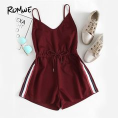ROMWE Contrast Striped Tape Romper Summer Beach Wear Women Sleeveless Playsuits Burgundy Spaghetti Strap Drawstring Romper - March 06 2019 at Teenage Outfits, Teen Fashion Outfits, Outfits For Teens, Girl Fashion, Girl Outfits, Fashion Dresses, Fashion Clothes, Fashion Jumpsuits, Stylish Clothes