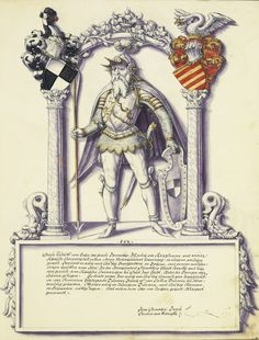 Rudolph I, legendary count of Zollern. Pen and ink, coloured washes, tempera and gold paint on parchment, by Jörg Ziegler, from Chronicle of the Hohenzollern Family (Hauschronik der Grafen von Zollern), c. 1572, J.P. Getty