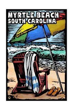 Myrtle Beach, South Carolina - Beach Chair - Scratchboard Art Print by Lantern Press at Art.com