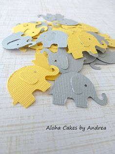 Elephant Confetti, Baby Shower Decorations, Gender Neutral Baby Shower, Yellow and Gray Elephant Die Cut, Shower Ideas, Set of 100 on Etsy, $4.50