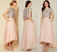 Two Pieces Unique Blush Bridesmaids Dresses For Cheap 2016 A Line Silver Sequins Top High Low Beach Plus Size Chiffon Maid Of Honors Cheap Bridesmaids Dresses 2015 Bridesmaids Dresses Plus Size Bridemadis Dresses Online with $137.15/Piece on In_marry's Store | DHgate.com