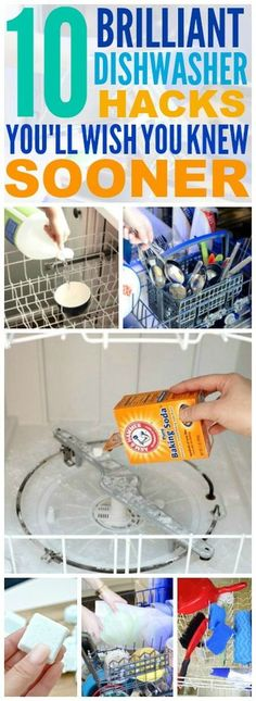 These 10 dishwasher hacks are THE BEST! I'm so glad I found these AWESOME tips! Now I have some great ways to clean things and clean my dishwasher! Definitely pinning