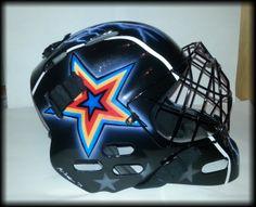 goalie mask 2/2 #airbrushing #goalie #custom painting Goalie Mask, Airbrush Art, Football Helmets, Hats, Painting, Hat, Painting Art, Paintings, Painted Canvas