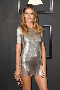 Heidi Klum looked every inch a supermodel at the Annual Grammy Awards, in a silver Philipp Plein chain-mail minidress. Grammys 2017, Metallic Dress, Sheer Dress, Dress To Impress, Runway Fashion, Look, Cover, Short Dresses, Couture