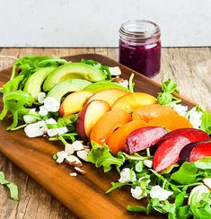 Peach, plum, apricot stone fruit salad with blackberry basil dressing. A salad recipe designed to showcase peak-season stone fruits, the rainbow happened by accident.