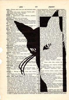 Gatto bianco nero dizionario libro pagina collage stampa artistica Acquista 3 ottenere un altro 1 Freeprint stampa