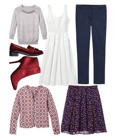 Add 7 Pieces-42 Amazing Outfits-Seven new pieces to revamp your entire wardrobe—for less than $251 total.Printed pants, Jaclyn Smith, $24.99; kmart.com.A bejeweled sweater, $52; jcpenney.com. Sizes XS to XL.A simple white dress, $54.99; dailylook.com (20% off with code REDBOOK20).A boxy quilted jacket, $29.80; forever21.com.A floaty floral skirt, $27; oldnavy.com. Sizes XS to XXL.Elegant heeled booties, $28.97; shoppriceless.com (20% off with code REDBOOK20).Spiffy loafers, $49.95; hm.com.