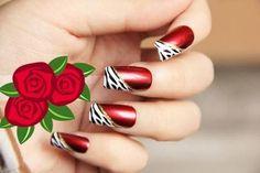 Resultado de imagen para uñas rojas Cute Nails, My Nails, Acrylic Nails, Nail Designs, Make Up, Polish, Nail Art, Yuri, Mac
