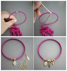 Everyone has time for quick and simple DIY craft projects. Here we have a great way of recycling old metal bangles to create a colourful accessory. Fabric Jewelry, Boho Jewelry, Beaded Jewelry, Handmade Jewelry, Beaded Bracelets, Diy Bracelets Easy, Summer Bracelets, Easy Diy Crafts, Diy Craft Projects