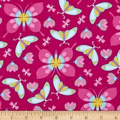 Michael Miller Birds & The Bees All the Wee Beast Magenta - Discount Designer Fabric -  Fabric.com