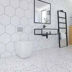 bathroom floor hexananal tile - Google-Suche #terrazzobathroom