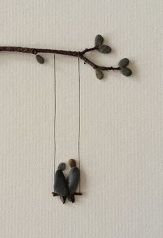 Two on a swing pebble art by sharon nowlan by PebbleArt on Etsy