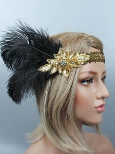1920s Sequin Feather Flapper Headband – vintage1950s Bohemian Hairstyles, Fancy Hairstyles, Feathered Hairstyles, Bride Hairstyles, Great Gatsby Outfits, Flapper Hair, Flapper Headpiece, Ted Baker, Red Dress Makeup
