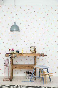 tienda online telas & papel   Papel pintado puntos rosas Oscar