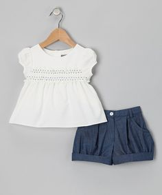 Take a look at this White Shirred Top & Blue Shorts - Infant, Toddler & Girls by Les Petits Soleils on #zulily today!