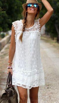 White Lace Sleeveless Casual Dress