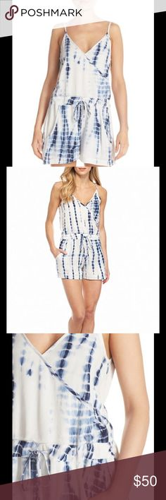 "NWT French Connection Holiday Wave Tie-dye romper Defer to summer's requisite carefree mood with this wrap-style romper from FRENCH CONNECTION, a one-and-done number punched up by a hippie-chic, tie-dye motif. Fits true to size Designed for a contemporary fit Crossover v-neck and back, adjustable shoulder straps Sleeveless, sewn faux wrap, self-tie drawstring waist Slit side pockets, welt back pockets, lined, pull-on Approx. 31"" from high point shoulder to hem, with 10.5"" rise, 2"" inseam…"