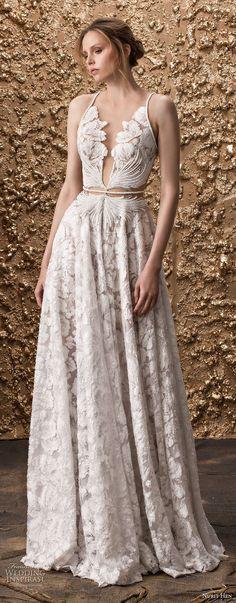 nurit hen 2018 bridal sleeveless thin strap full embellishment elegant modified a line wedding dress open strap back sweep train (17) mv
