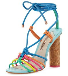 """Copacabana Strappy Cork-Heel Sandal by Sophia Webster. Sophia Webster multicolor leather sandal. 4.3"""" flecked cork cone heel. Open toe. Knotted, caged vamp. Lace-up front t..."""