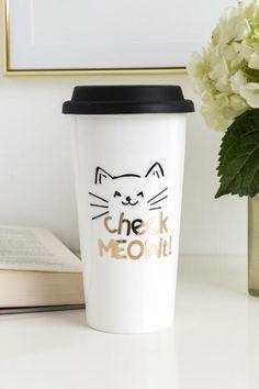 Check Meowt Cat Travel Mug