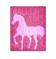 Personalized Horse Art Print Girls Room Dream Horses Pink Custom Colors. Customized Nursery Art Child