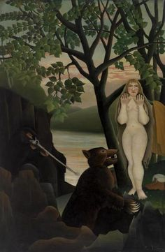 Unpleasant Surprise (Mauvaise by Henri Rousseau (The Barnes Foundation, Philadelphia, PA) - Post Impressionism - Naive/Primitive Norman Rockwell, Henri Rousseau Paintings, Barnes Foundation, Avant Garde Artists, Art Ancien, Amedeo Modigliani, Post Impressionism, Naive Art, Magritte