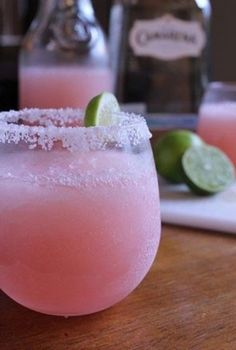 we love this pink lemonade margarita for a signature cocktail - see more color inspiration here: http://www.mywedding.com/articles/monochromatic-wedding-details/