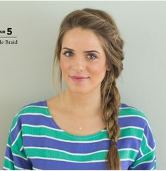 Messy side braid with bangs pinned to one side