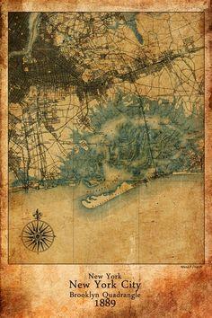 Maxwell Dickson Historical Antique-Vintage Map New York City 1889 Canvas Art #NYCmap