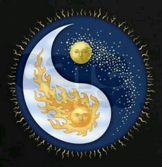 ideas for drawing moon sun yin yang Arte Yin Yang, Ying Y Yang, Yin Yang Art, Ying Yang Symbol, Sun Moon Stars, My Sun And Stars, Yen Yang, Celestial Tattoo, Yin Yang Tattoos