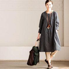 Women Cotton Linen Floral Dress Long Sleeve