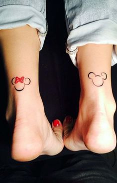 Simple Small Outline Mickey Mouse Matching Couple Ankle Back of Leg Tattoo Ideas Minnie Mouse - ideas del tatuaje del tobillo del ratón - www.MyBodiArt.com