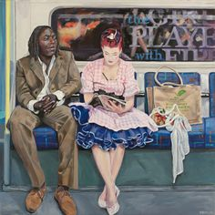Painting people - Artist Ewing Paddock's paintings of people on the London Underground – Painting people People Reading, Art Alevel, Train Art, Easy Art Projects, A Level Art, Painting People, London Underground, Gcse Art, London Art