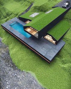 Villa Design, Dream Home Design, Modern House Design, Modern Architecture House, Interior Architecture, Amazing Architecture, Black Architecture, Sustainable Architecture, Conception Villa