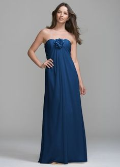 David`s Bridal Bridesmaid Dresses Long Chiffon Dress with Removable Flower Detail Style VC307 $109.99