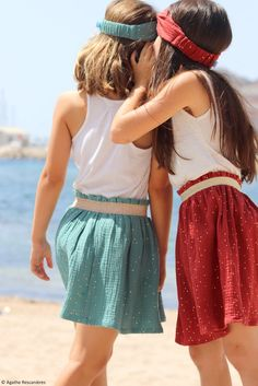 Skirt in double gauze Little Girl Dresses, Little Girls, Girls Dresses, Twins, Kids Outfits, Sewing Patterns, Dressing, Rose, Crochet