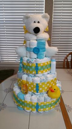 Diaper cake for a little boy. Done by Tracy Farrell