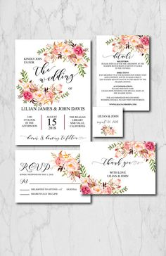 Boho Chic Wedding Invitation Suite Template, Rustic Wedding Invitation Printable, Blush Floral Wedding Invitation Instant Download, 015