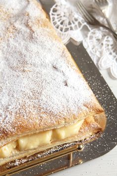 The best cremeschnitte recipe - two layers of puff pastry filled with a heavenly creamy vanilla cream. Puff Pastry Recipes, Pie Recipes, Baking Recipes, Dessert Recipes, Polish Recipes, Baking Ideas, Easy Recipes, Just Desserts, Delicious Desserts