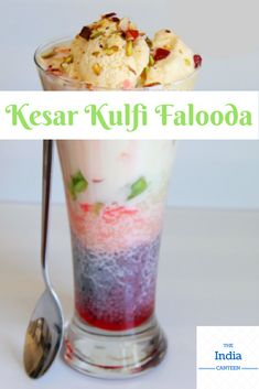 Kesar Kulfi Falooda: rich topped with & rose syrup is which finds a place at every Indian buffet counter. Falooda Recipe, Kulfi, Indian Street Food, Indian Sweets, Ethnic Food, Juices, Syrup, Indian Food Recipes, Counter