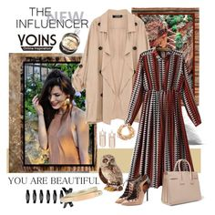 """Yoins Khaki Coat"" by carola-corana ❤ liked on Polyvore featuring Malone Souliers, Chanel, Yves Saint Laurent, Jay Strongwater, women's clothing, women, female, woman, misses and juniors"