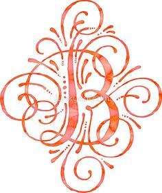 Watercolor Monogram Calligraphy B sticker  @redbubble #junkydotcom Aug 12 2016