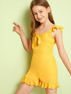 To find out about the Girls Solid Ruffle Trim Zip Back Tie Front Romper at SHEIN, part of our latest Girls Jumpsuits ready to shop online today! Girly Girl Outfits, Cute Little Girls Outfits, Little Girl Models, Cute Girl Dresses, Kids Outfits, Preteen Girls Fashion, Girls Fashion Clothes, Fashion Outfits, Young Girl Fashion