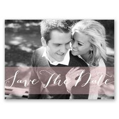 Eye-catching calligraphy on this photo save the date postcard will set the tone for your big day!