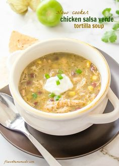 Slow Cooker Chicken Salsa Verde Tortilla Soup is classic chicken tortilla soup with a salsa verde twist! It's healthy, hearty, and delicious! @flavorthemoments #slowcooker #soup #chicken #tortilla #verde