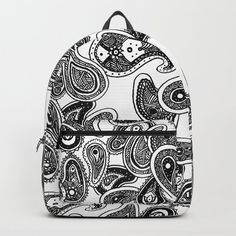 Black and White Hand Drawn Paisley Premium Backpack - Made to Order D Craft, Paisley Pattern, One Size Fits All, Fashion Backpack, How To Draw Hands, Handmade Items, Backpacks, Unisex, Black And White